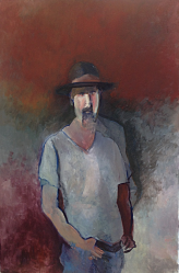Two Joshuas. Self Portrait in a Felt Hat. 60x89 cm / 30x40 inches Oil on canvas
